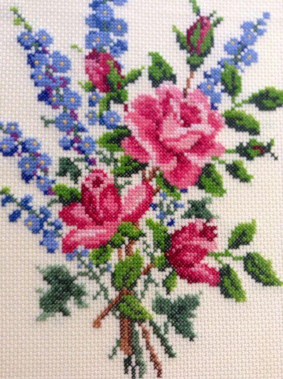 Rose Floral Needlepoint in Dark Wooden Frame- Cottage, Shabby, Farmhouse, Flea…