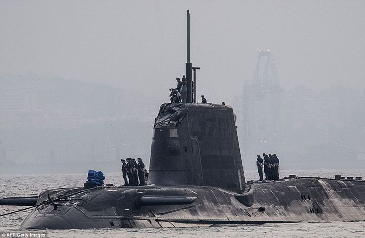 Embarrassing: The HMS Ambush submarine (pictured yesterday after the crash) was submerged and carrying out a training exercise when it collided with the merchant vessel on Wednesday afternoon, Britain's Ministry of Defence confirmed