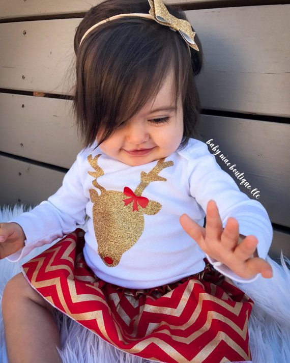 Baby Girl Christmas Outfit Glitter Reindeer Outfit  Babies