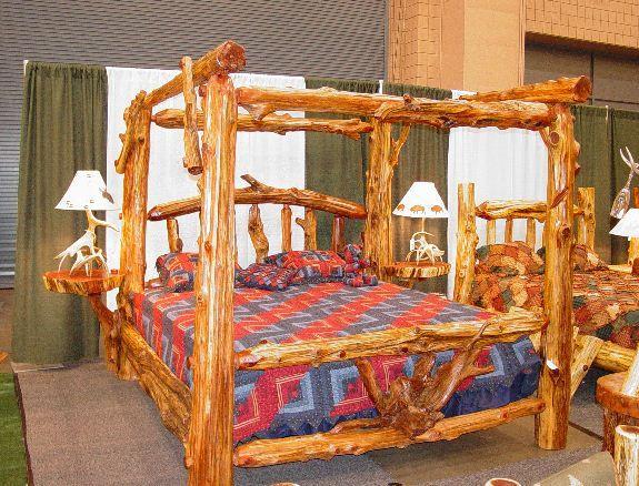 1000 ideas about log bed frame on pinterest log bed for Log canopy bed frames