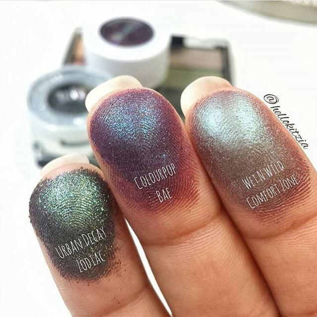 Duo Chromes Eyeshadows: 'Zodiac'-Urban Decay 'Bae'-Colourpop Cosmetics 'ComfortZone'- Wet N' Wild