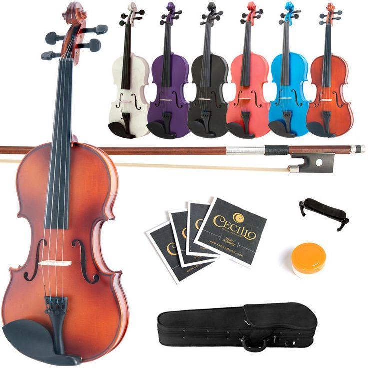 Mendini Solid Wood Violin Size 4/4 3/4 1/2 1/4 1/8 1/10 1/16 1/32 #Mendini