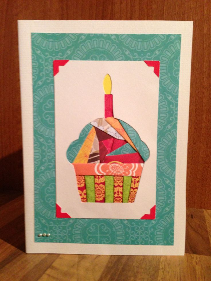 Iris folding birthday card with Asian style papers