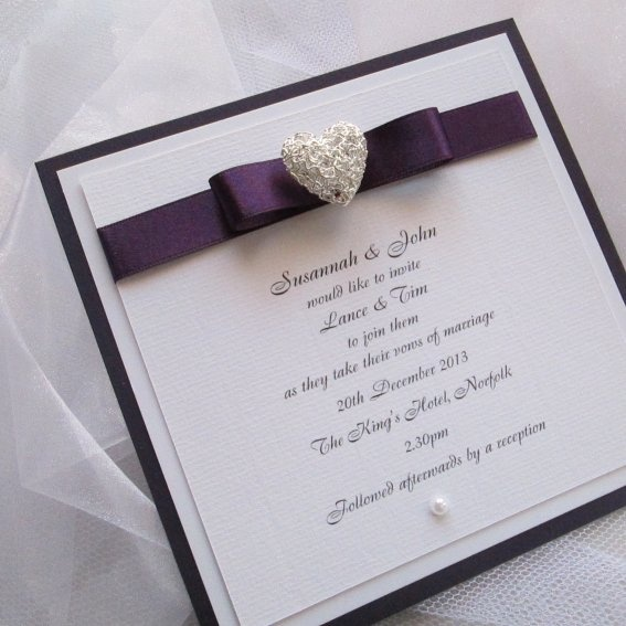 This Flat Postcard Style Wedding Invitation Has An Aubergine Mount With Blackberry Satin Ribbon And Silver Filigree Heart