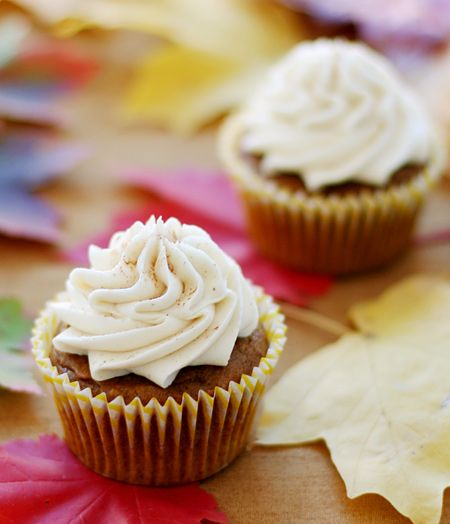 Sweet potato cupcakes with maple spice buttercream. So many wonderful fall flavours corralled into one little cupcake wrapper! :) #fall #autumn #food #dessert #baking #maple #buttercream #frosting #cupcake #sweet_potatoes