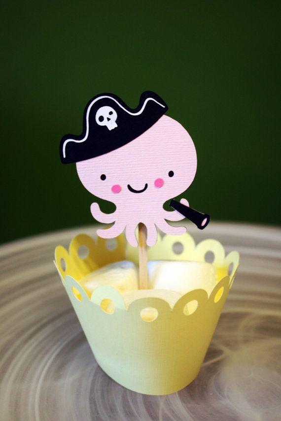 Ähnliche Artikel wie Octopus Pirate Cupcake Toppers / Cake Toppers / Mini Cupcake Toppers / Mittelstücke auf Etsy