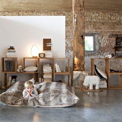 Kids Room Faux Fur Brick Stone Wall Modern Rustic