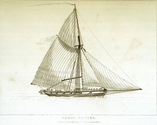 An armed cutter of the type that served in Philippe d'Auvergne's naval squadron between 1794 and 1802. Etching in the National Maritime Museum (image is in the Public Domain).