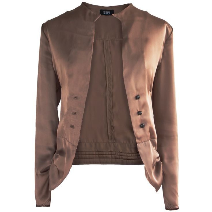 Cropped Satin Jacket on TROVEA.COM
