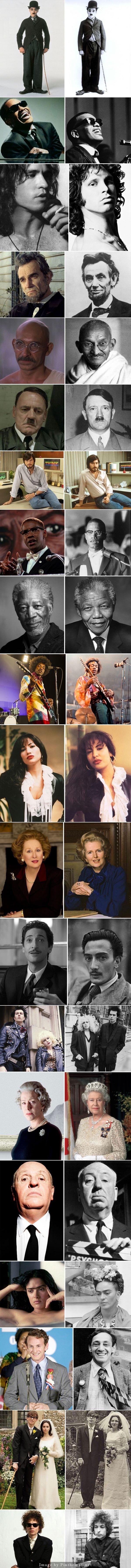 Szeretnél ámulni egy nagyot? Akkor nézd meg ezeket a híres embereket, és színész hasonmásaikat, akik eljátszották őket! :)