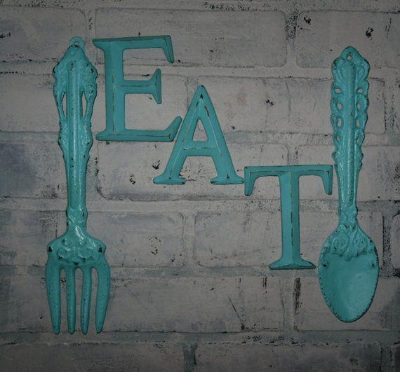 Kitchen Wall Decor / Aqua / Fork and Spoon Decor / EAT Sign/ Wall Word / Shabby Chic / Shabby Chic Decor on Etsy, $36.99