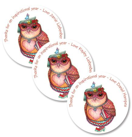 Personalised teacher owlivia Tracy Paul Gift Stickers - order and personalise online at www.macaroon.co.za