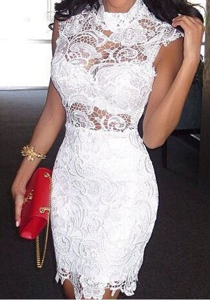 Sheer Crochet Lace Dress- Features Floral Crochet Lace Overlay