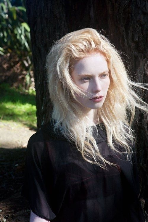 The gorgeous Albino Model, Nastya Kumarova. Her hair is naturally white, but is blonde for this shoot.