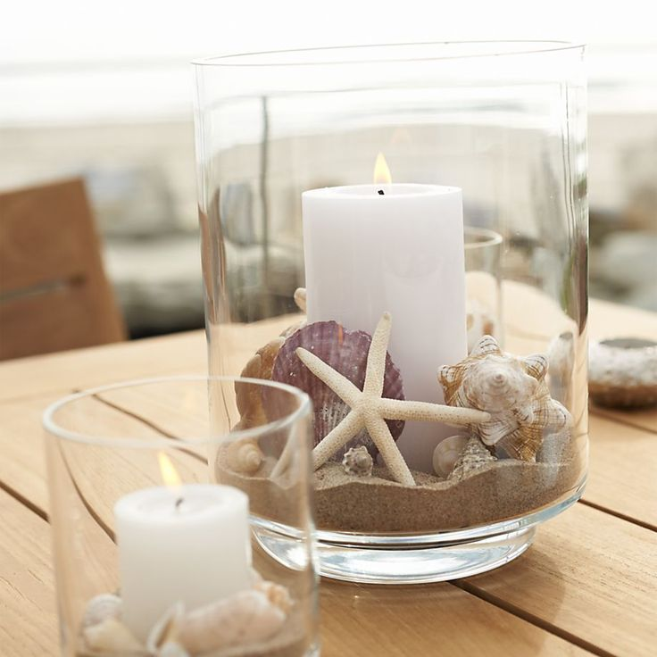 Nautical Glass Centerpiece : Taylor glass hurricane candle holders crate and barrel