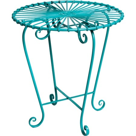 I pinned this Oberon Side Table in Turquoise as inspiration to paint my black wrought iron table and chairs