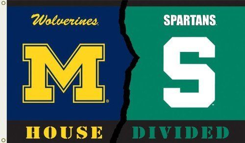 NCAA Michigan - Michigan State 3-by-5 Foot Flag with Grommets - Rivalry House Divided by BSI. $13.99. Reinforced headband with 2 grommets for flying. Officially licensed NCAA Collegiate product.. Heavy duty polyester. 3-by-5 foot. Screen printed design. Show everyone that your house is divided by die-hard fans of these two rivals by hanging up this 3 by 5-foot Collegiate flag from B.S.I Products. This officially licensed flag is made of durable, 100% polyester and i...