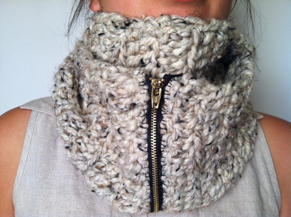 Cowl scarf with zipper crochet Pinterest