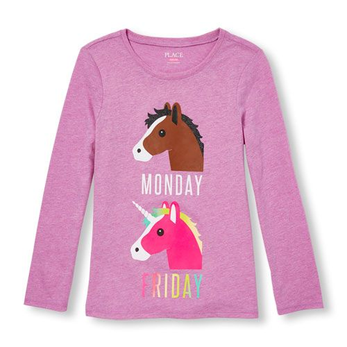 Girls Long Sleeve Glitter 'Monday (Horse) Friday (Unicorn)' Graphic Tee - Purple T-Shirt - The Children's Place