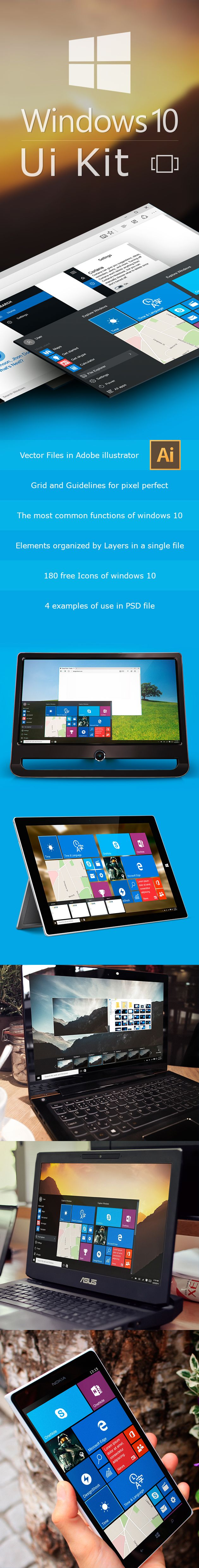 A Windows 10 interface Pack delivering you the modern style of Microsoft's last release for desktop, tablet and phone, Use-ready Illustrator editable file.