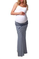 Navy Blue White Striped Maternity Maxi Skirt - love these skirts, they look better with a big belly than dresses.