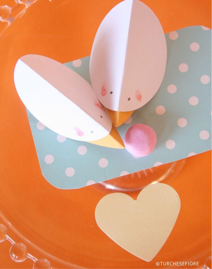 pulcini di carta tavola di Pasqua