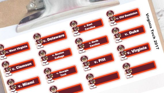 Virginia Tech football schedule planner stickers Hokies