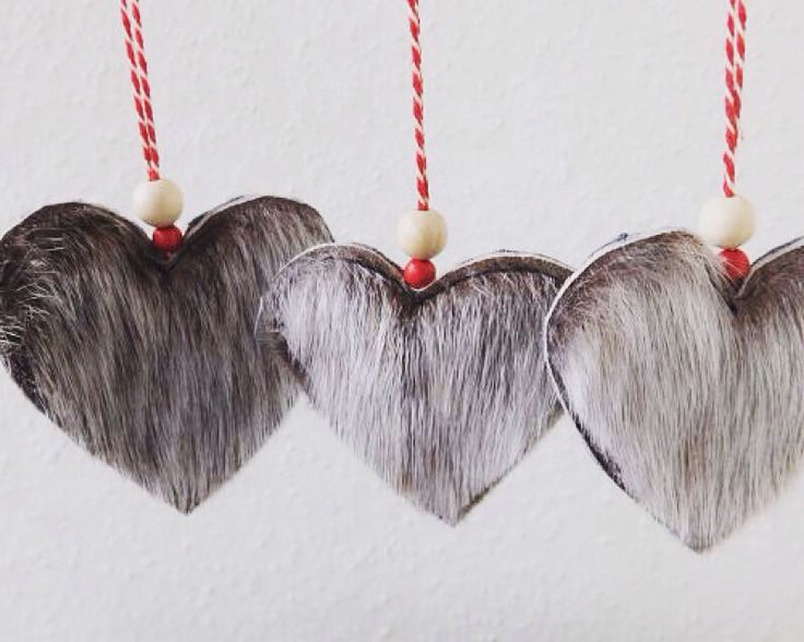 Christmas hearts made from genuine Greenland seal fur. Www.silverfern.dk