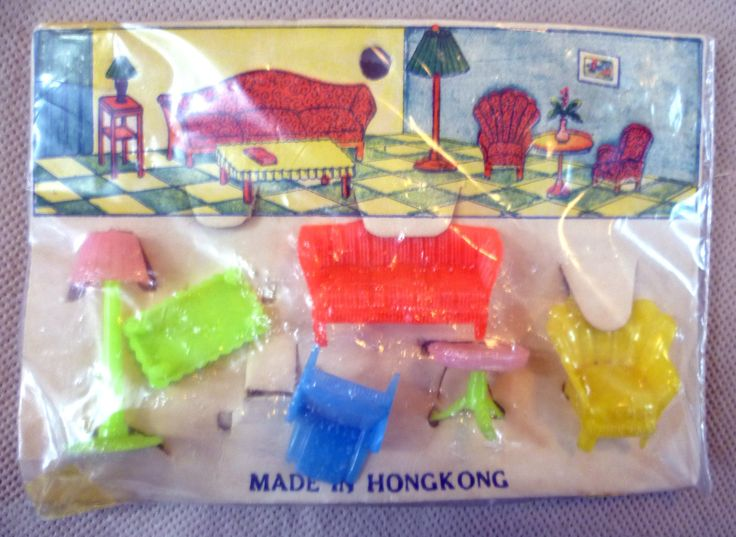 Vintage Dolls House Carded Very Small Scale Plastic Furniture - Hong Kong | eBay