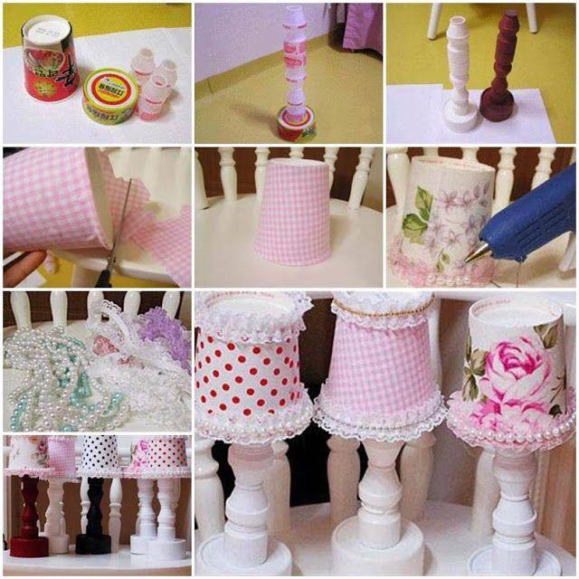 Abajur para boneca com RECICLAGEM de potes de yakult -
