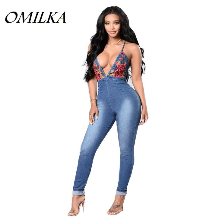 Cheap rompers and jumpsuits, Buy Quality jean romper directly from China overall romper Suppliers: OMILKA 2017 Summer Women Strap Deep V Neck Backless Bodycon Denim Jeans Rompers and Jumpsuits Sexy Blue Foral Club Overalls