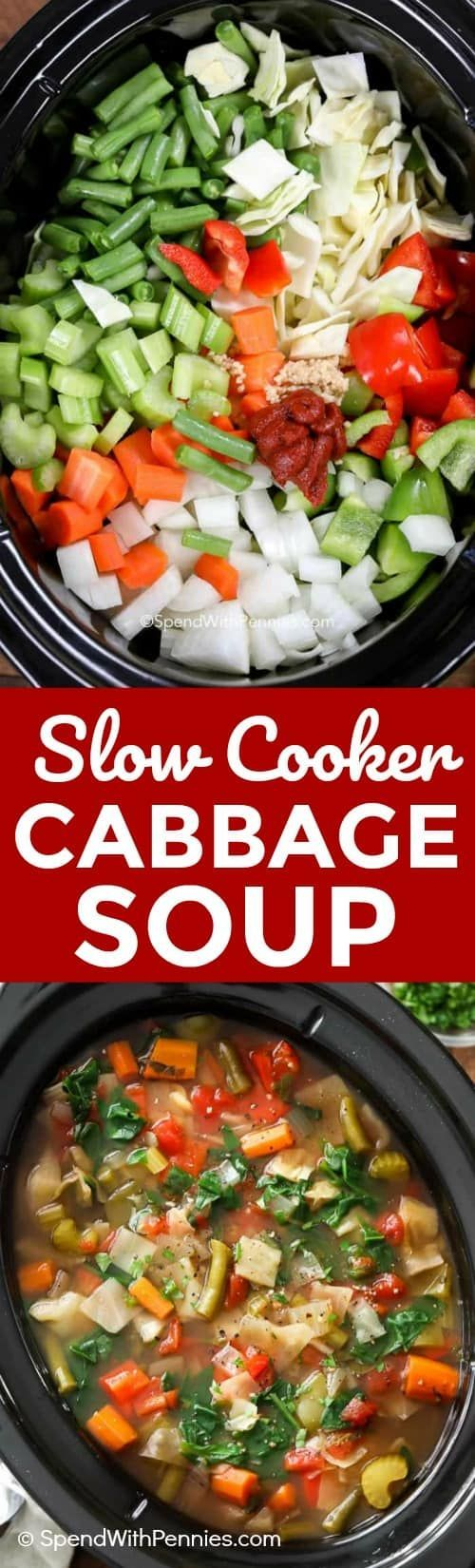 This Slow Cooker Cabbage Soup is an easy recipe and the perfect healthy lunch or dinner. #weightloss #healthyrecipe #cabbagesoup #weightwatchers #dietrecipe
