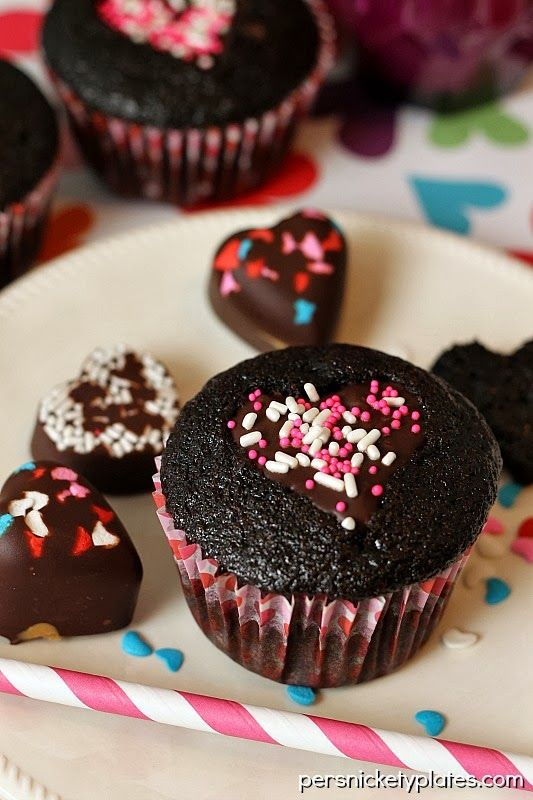 Dark Chocolate Cupcakes with Heart Cut-Out s on MyRecipeMagic.com