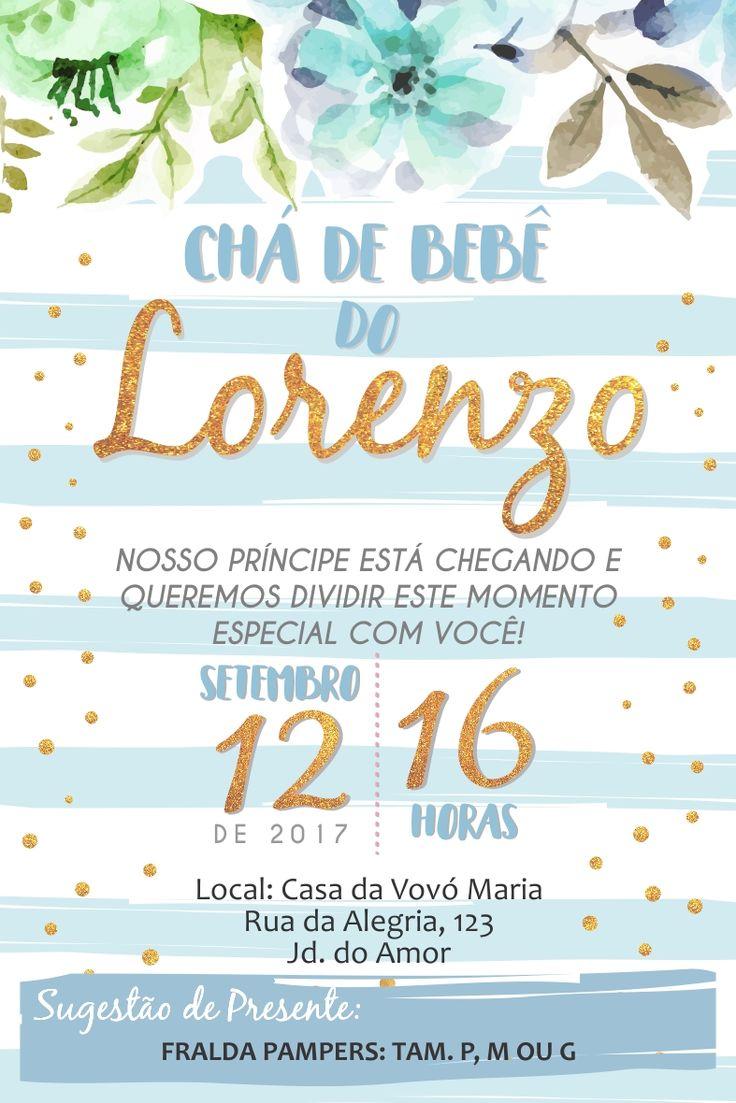 Convite Cha de Bebe Flores Azul com Dourado Cha de Fraldas