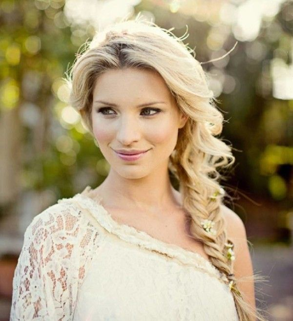 Side Braided All Down Hairstyles For Long Hair For Wedding Bridesmaid