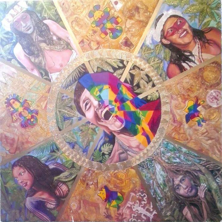 GRUPOS ETNICOS DEL YASUNI.REALIZADA el 01 de mayodel 2016 en oleo y esmalte sobre lienzo de 2,12mtsx 2,12mts formato rombo,registro en elIEPI No.QUI-050216  .Lasprincipales etnias que habitan esta region de la selva ecuatoriana del Yasuni son los huaorani,los tagaeri y los taromenane,ellos llevan viviendo miles de años en el yasuni,Las zonas en colores calidos contienen codigos cifrados y se relacionan con el calentamiento global,proyectan el mito de la caverna de Platon.