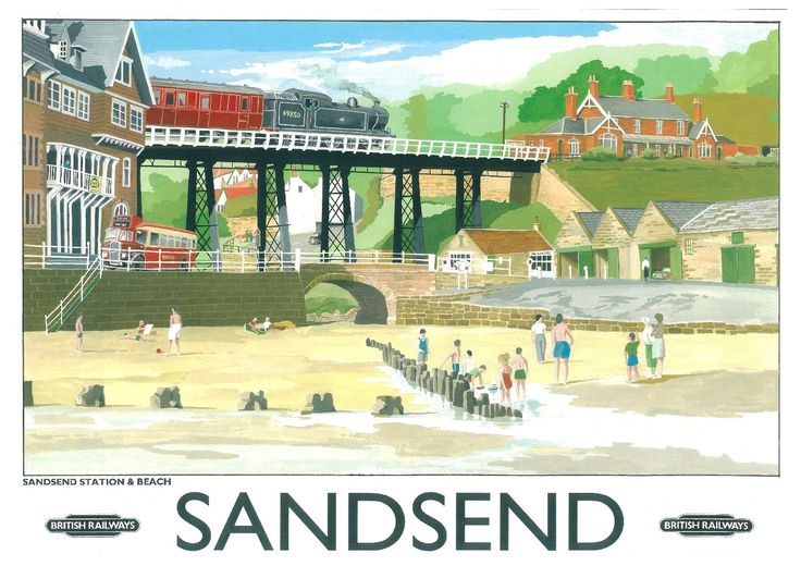 Visit Sandsend railway poster pinned by www.realyorkshiretours.co.uk