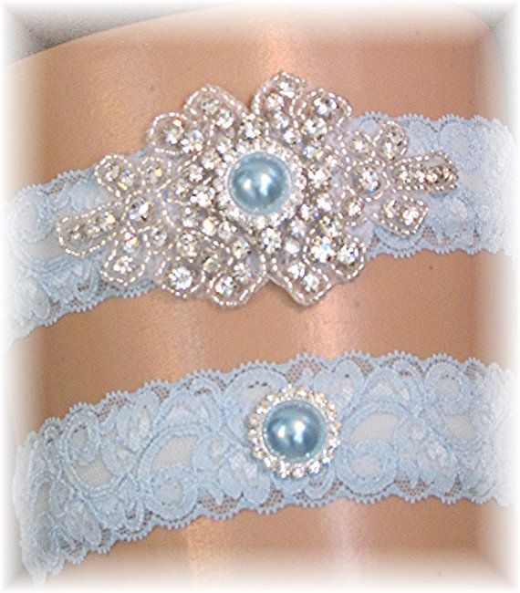 Blue Lace Wedding Garter Set Vintage Style By