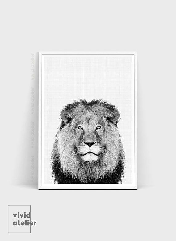 Black and White Lion print is a high quality instantly downloadable printable wall art. Decor your home in an affordable way! Print it and frame it - its really that easy!