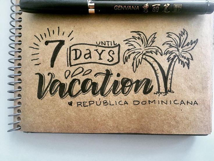 Now the Countdown to Punta Cana is real 7 days to go ! . #vacation #travel #countdown #vitaminsea #puntacana #bayahibe #lettering #brushlettering #palmtrees #caribe #vacaciones #quedapoco #happy #love #followme #kraftpaper #ink #blackwork #roadtrip #family #blackworkillustrations #handmade #diy #islasaona #republicadominicana #caribe