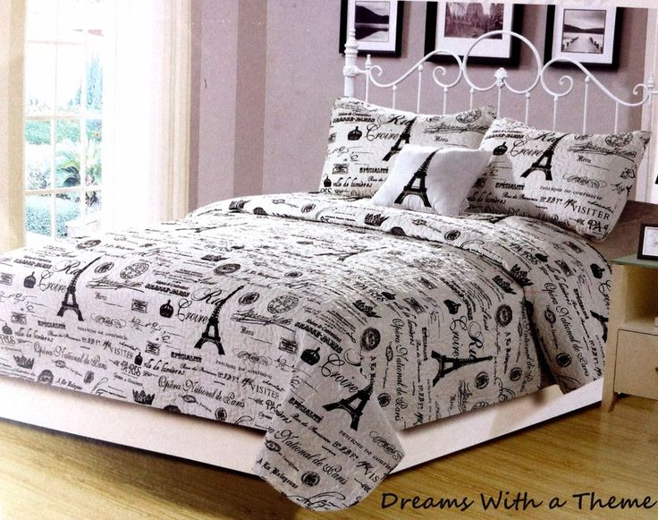 french postcard paris eiffel tower 4pc king size quilt set u0026 decorative pillow