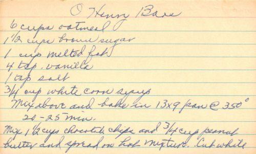 Handwritten Recipe For Oh Henry Bars
