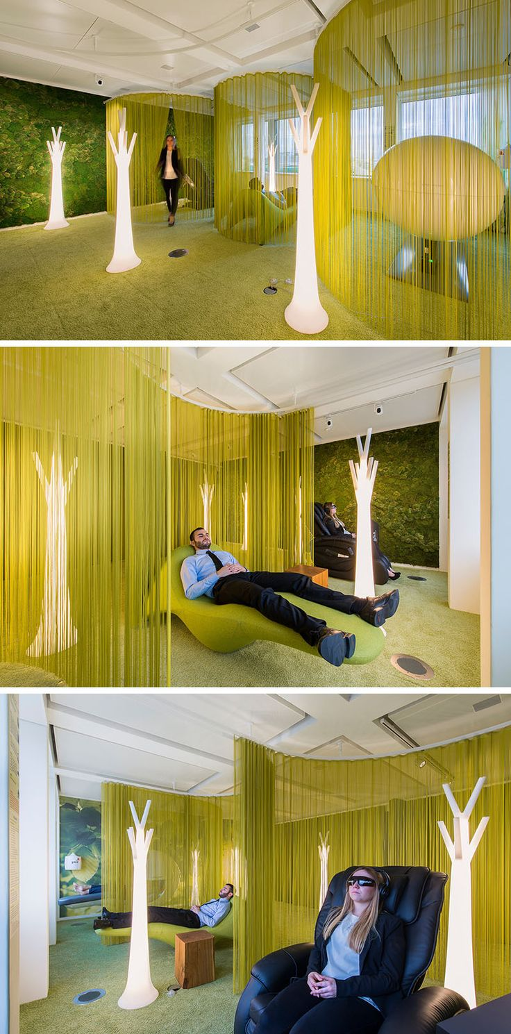 Office Design Inspiration - This Modern Office Has A Lounge Area For Quiet Relaxation.   When PwC Switzerland commissioned Evolution Design to create their new office in Basel, they wanted an office with a super healthy work environment. As part of this healthy environment, the office would need to include areas of activity, attitude, rest, and nutrition.