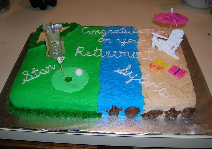 Retirement cake with golf and beach scenes extended