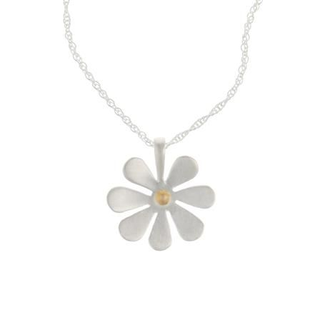 ACHICA | Banyan Satin Flower Pedant with Gold Plated Centre, Sterling Silver