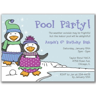 Swimsuit Penguins Invitations Winter Pool Party Swim