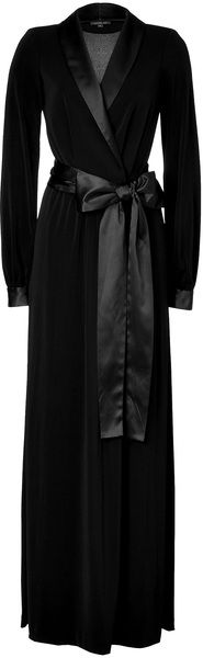 Rachel zoe Black Tuxedo Estella Gown   Would LOVE a robe like this...especially if it were mink...or some other silky fur.