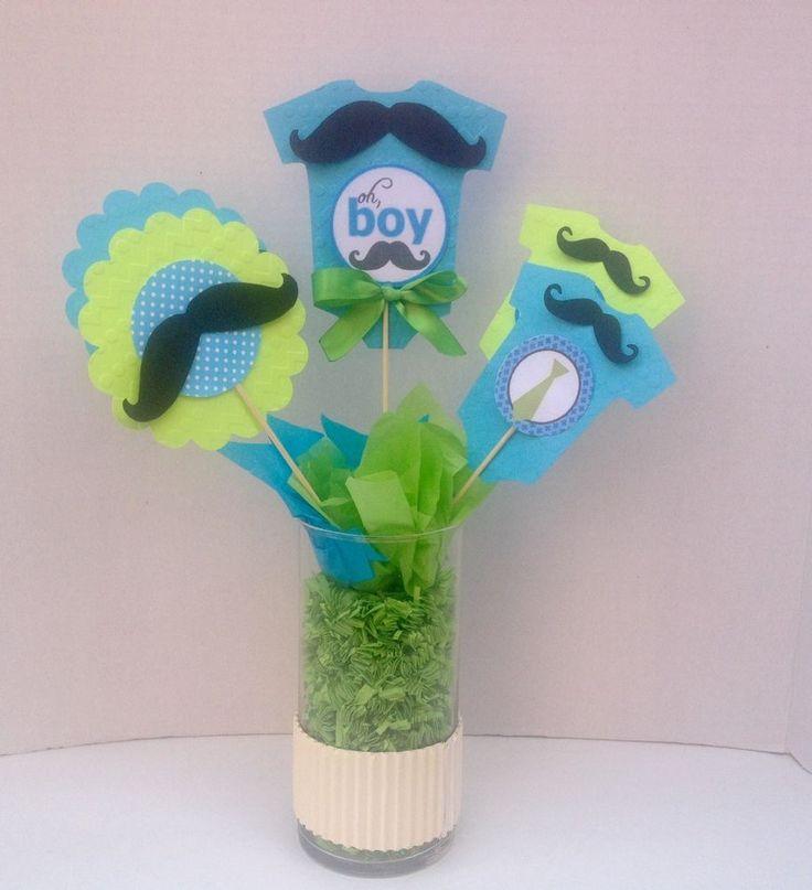 Mustache centerpiece sticks Set of 10 with stick, oh boy theme, baby shower  #Handmade #BirthdayChildBabyshower