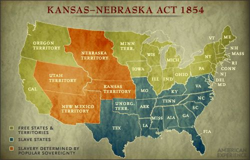 kansas nebraska act according to the picture above in kansas and nebraska were both created as territories the people living in these territories also