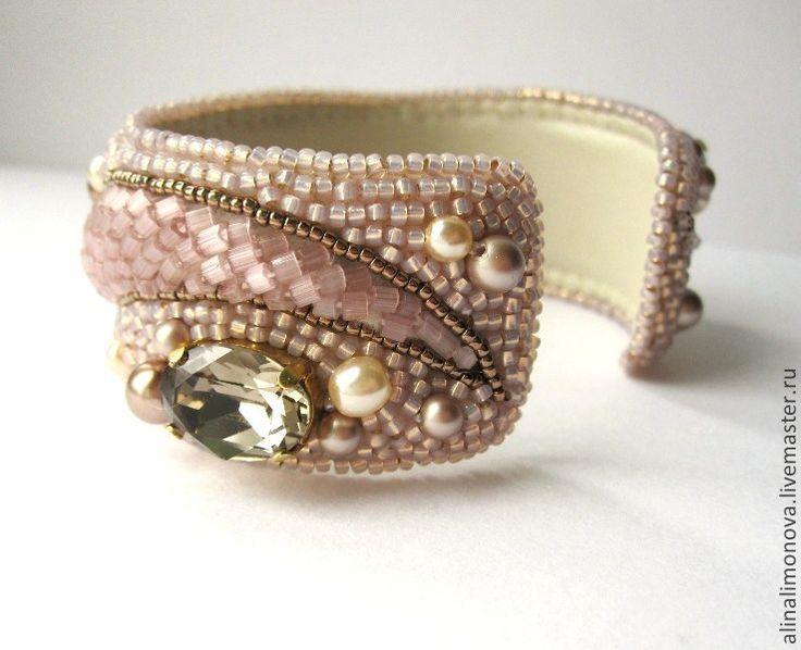 Купить Браслет Розовый шелк - кремовый, бронзовый, золото, матовый, шелковый, браслет с камнем